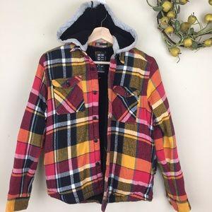 BILLABONG Flannel Plaid Button Up Jacket Boys L
